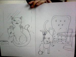 Preliminary sketches of our newest story book - The Super Cat Brothers Find a Home